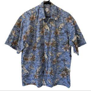 Pierre Cardin Men's Hawaiian Shirt Light Blue Sz L